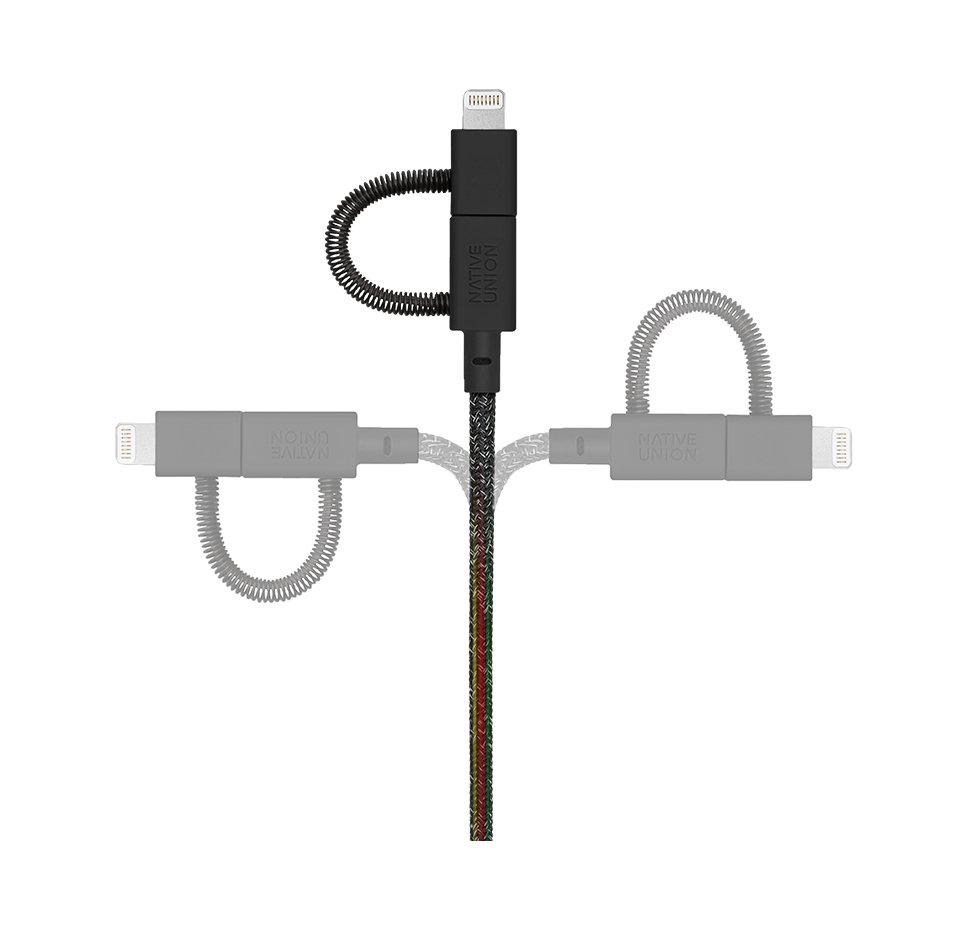 Belt Cable Universal 3in1, USB A to MicroUSB-Lightning-USB C, 2M